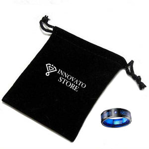 Black Dragon Inlay on Blue Tungsten Carbide Ring and Blue Stone - Innovato Store