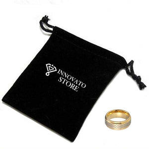 Polished Gold Coated Tungsten Carbide with Laser Engraved Knot Pattern Wedding Ring