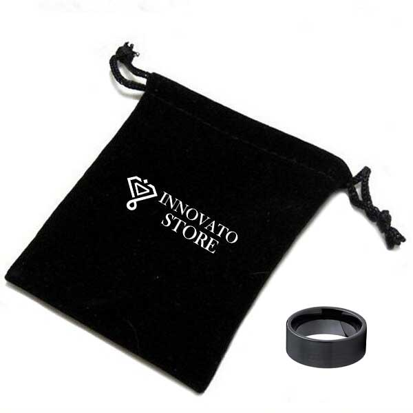 Black Brushed Tungsten Carbide Pipe Cut with Smooth Finish Fashion Ring - Innovato Store