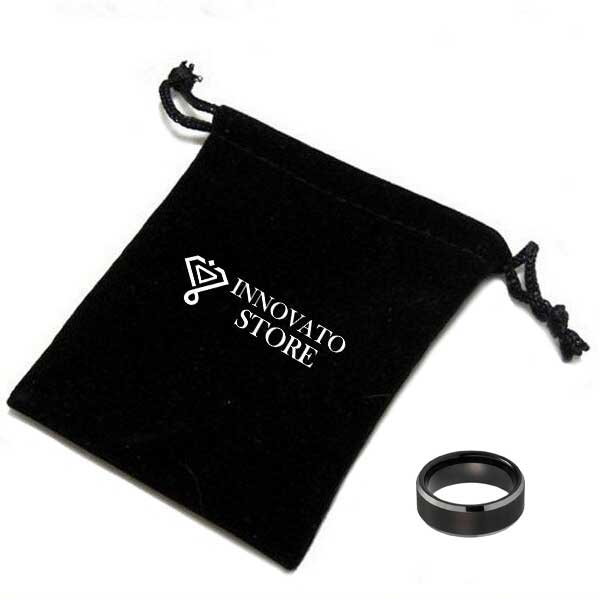 Black Brushed Tungsten Center with Smooth Beveled Dome Shape Edge Wedding Ring - Innovato Store