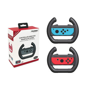2 pcs Steering Wheel Joy-Con Controllers Game Accessories Left & Right Direction Manipulate for Nintendo Switch Joy-Con (Black)