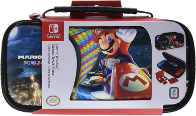 NINTENDO SWITCH DELUXE MARIO KART TRAVEL CASE, PREMIUM HARD CASE MADE WITH PU LEATHER, ORIGINAL MARIO KART ART. SECURE FIT FOR SWITCH, DESIGNED TO PROTECT SWITCH'S ANALOG STICKS, 2 MULTI-GAME CASES