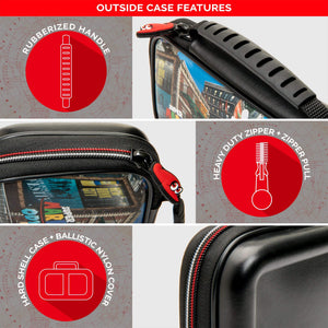 NINTENDO SWITCH DELUXE MARIO ODYSSEY TRAVEL CASE, PREMIUM HARD CASE MADE WITH PU LEATHER, ORIGINAL ODYSSEY ART. SECURE FIT FOR SWITCH, DESIGNED TO PROTECT SWITCH'S ANALOG STICKS, 2 MULTI-GAME CASES