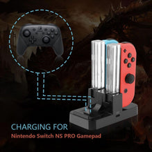 Nintendo Switch Joy Con Charger Dock,4 in 1 Charging Stand With light Charger Black