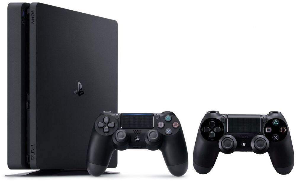 PlayStation 4 1 TB Slim With 2 Dual Shock Wireless Controllers - Black