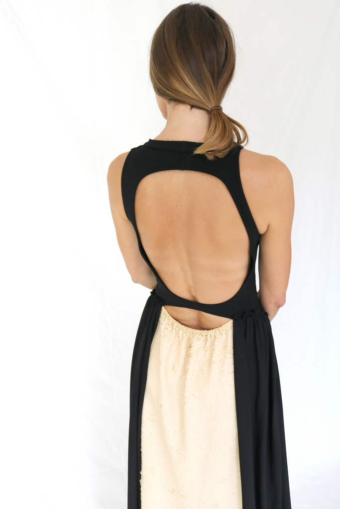 Maxi dress with open back and contrast sequin back panel