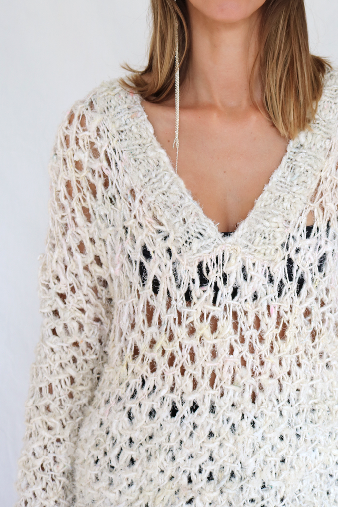 Oversized hand-knitted silk jumper