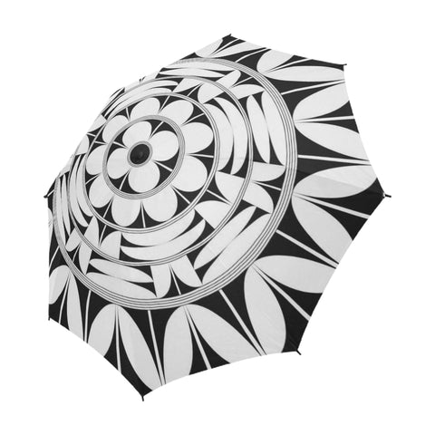 Povi Kaa (Flower Leaf) White Semi-Automatic Foldable Umbrella