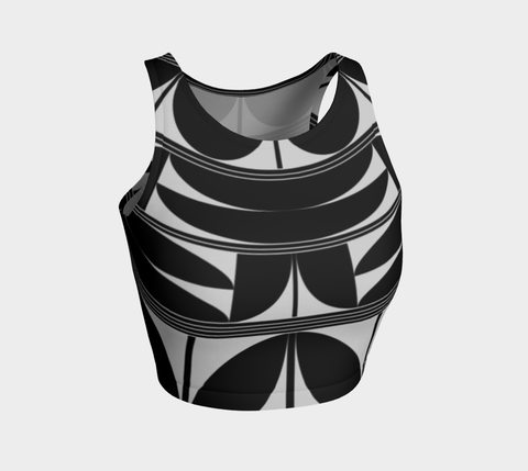 Povi Kaa (Flower Leaf) Black Athletic Crop Top