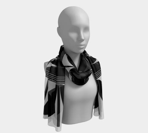 Povi Kaa (Flower Leaf) Black Long Scarf