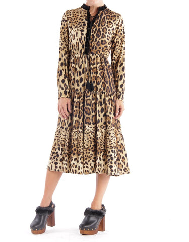 Leopard animal print midi dress