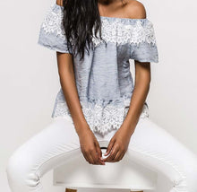 Laced Linen Off-The-Shoulder Top