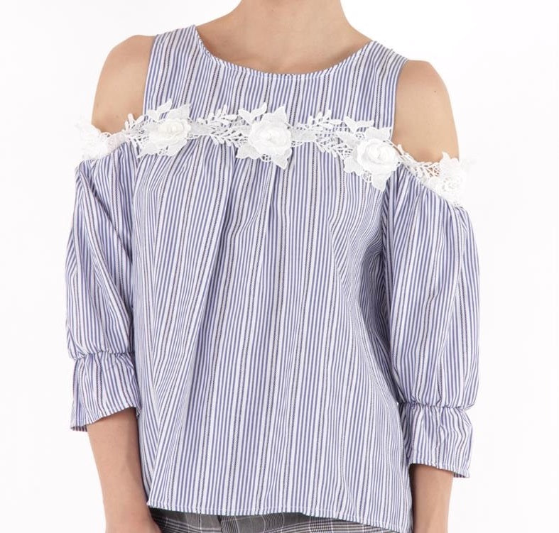 Striped Blue Blouse With Lace Detail