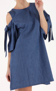 Denim Flare Dress With Tied Sleeves