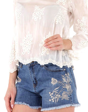 Embroidered Jean Short