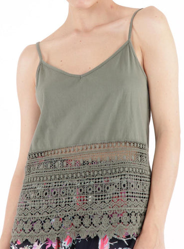 Tank with Lace Cutout