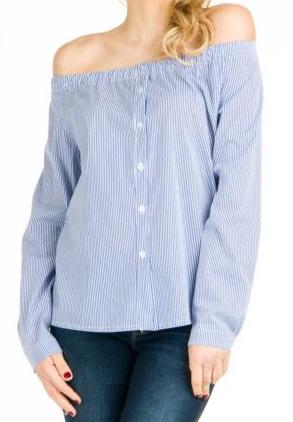 Off-The-Shoulder Button Blouse