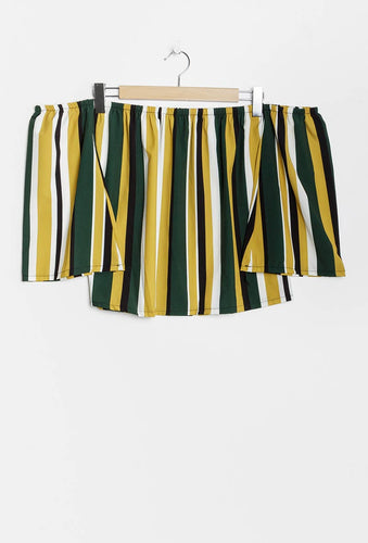 Olive and Mustard Stripe Off-The-Shoulder