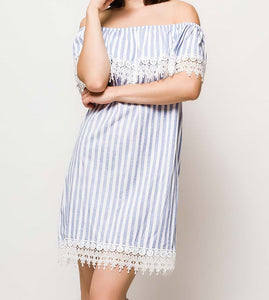 Stripe Off-The-Shoulder Dress With Lace