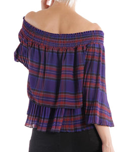 plaid off the shoulder