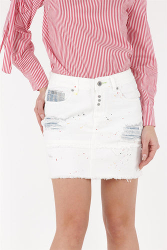 White Denim Distressed Skirt