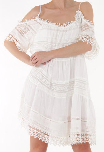 White Lace Cold Shoulder Dress