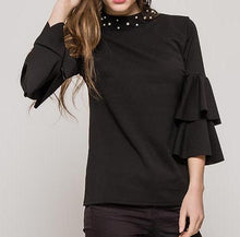 Ruffled Sleeve Blouse With Pearls