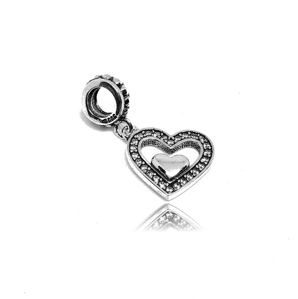 Heart within Heart Charm - Joyas Por Amor