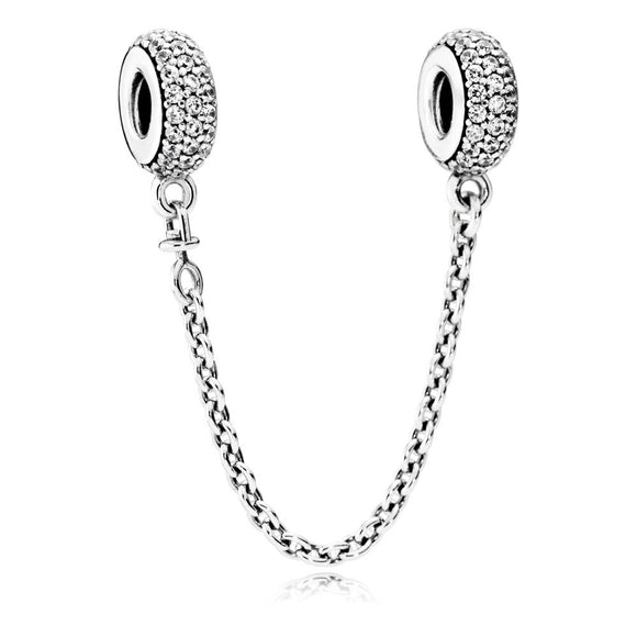 Safety Chain Silver Pave Charm - Joyas Por Amor