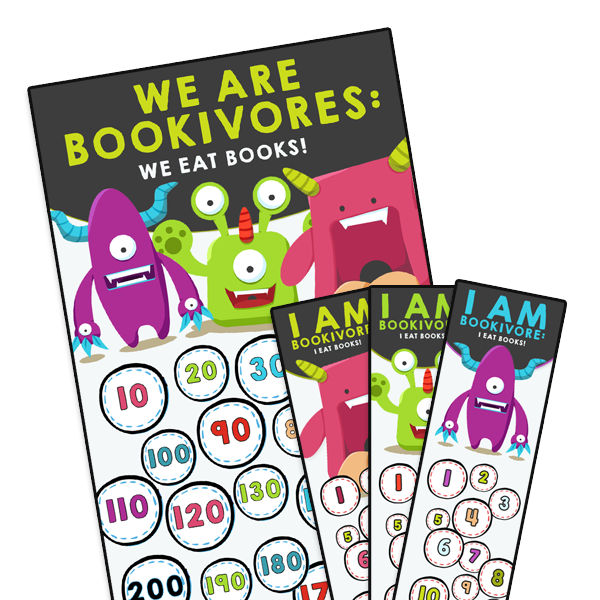 Poster Bookivores + Bookmarks to punch