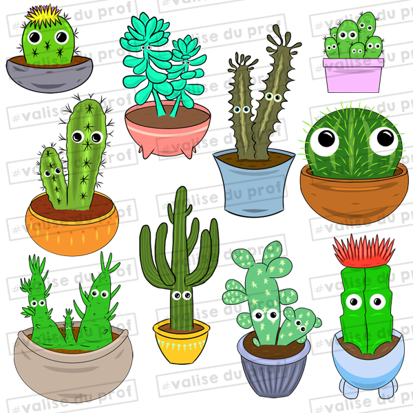 10 Cliparts Cactus (2 versions)