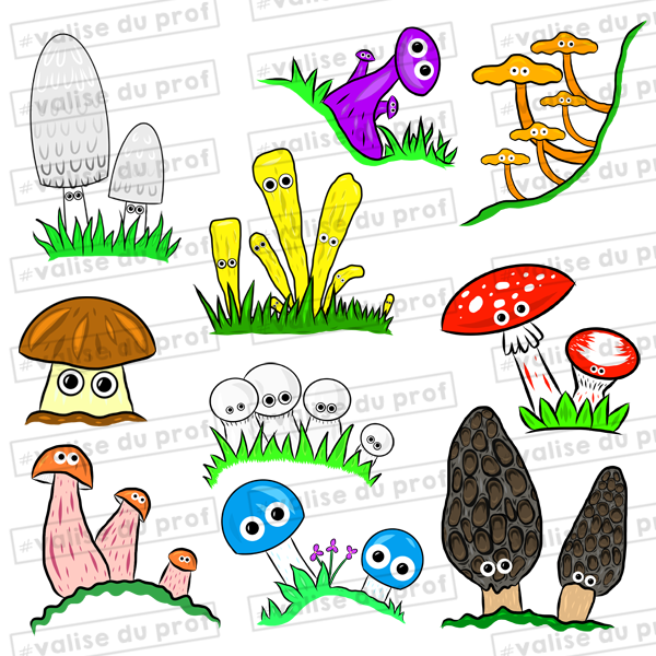 10 Cliparts - Champignons (2 versions)