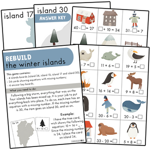 Winter islands - missing number (addition and subtraction)