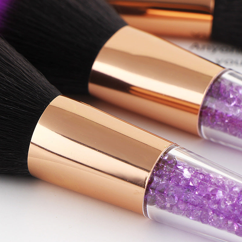 7pcs Purple Glitter Makeup Brushes Sirene Stunna