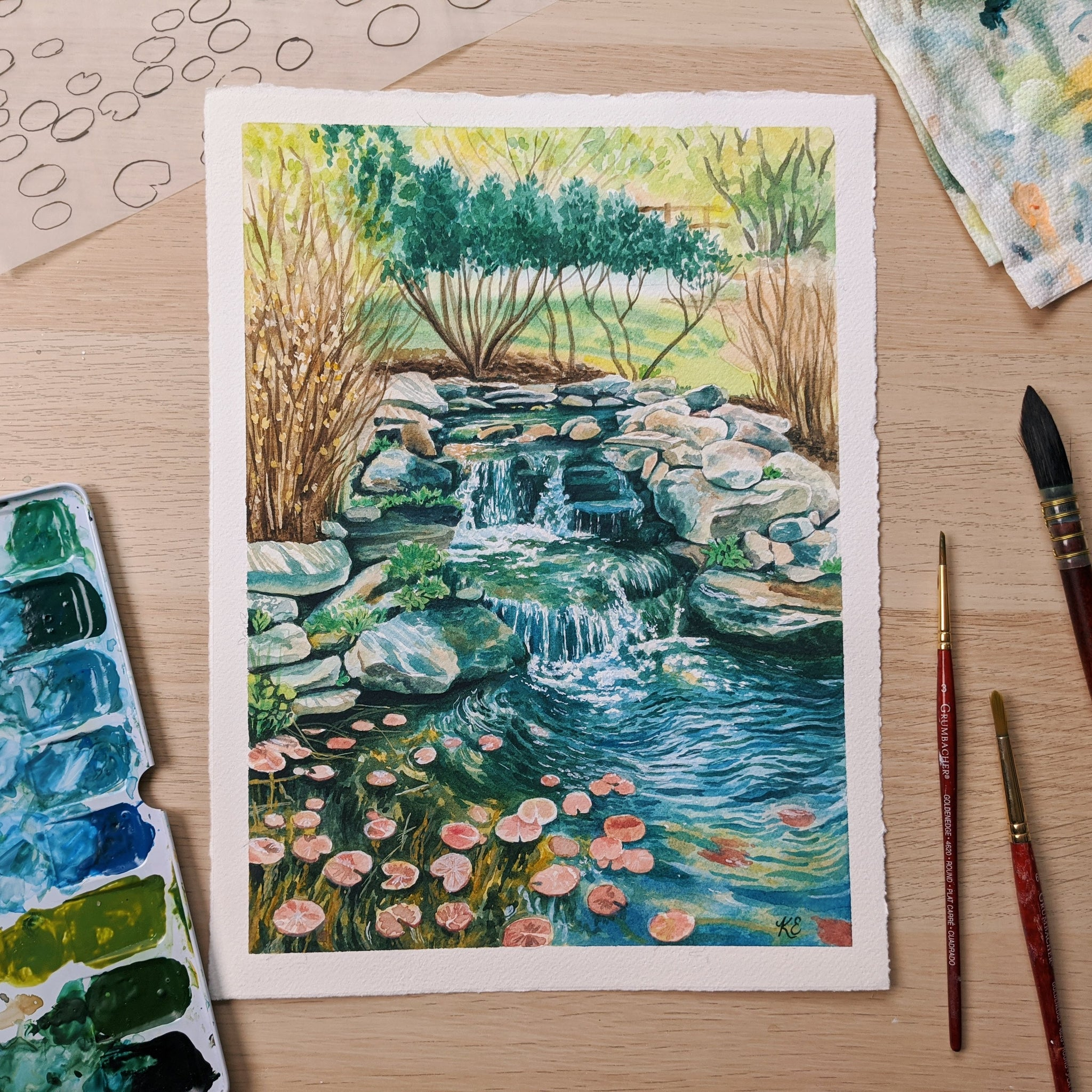 Painting a Lily Pad Pond - Watercolor Process and Tips