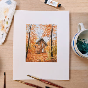 Cozy Woodland Cabin - Watercolor Process