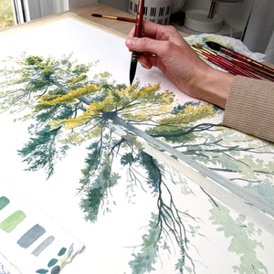 Painting a Pair of Pine Trees with Watercolor