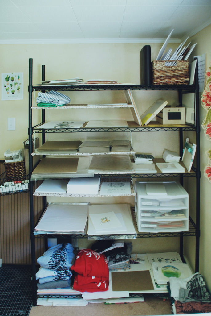 Shelf full of papers