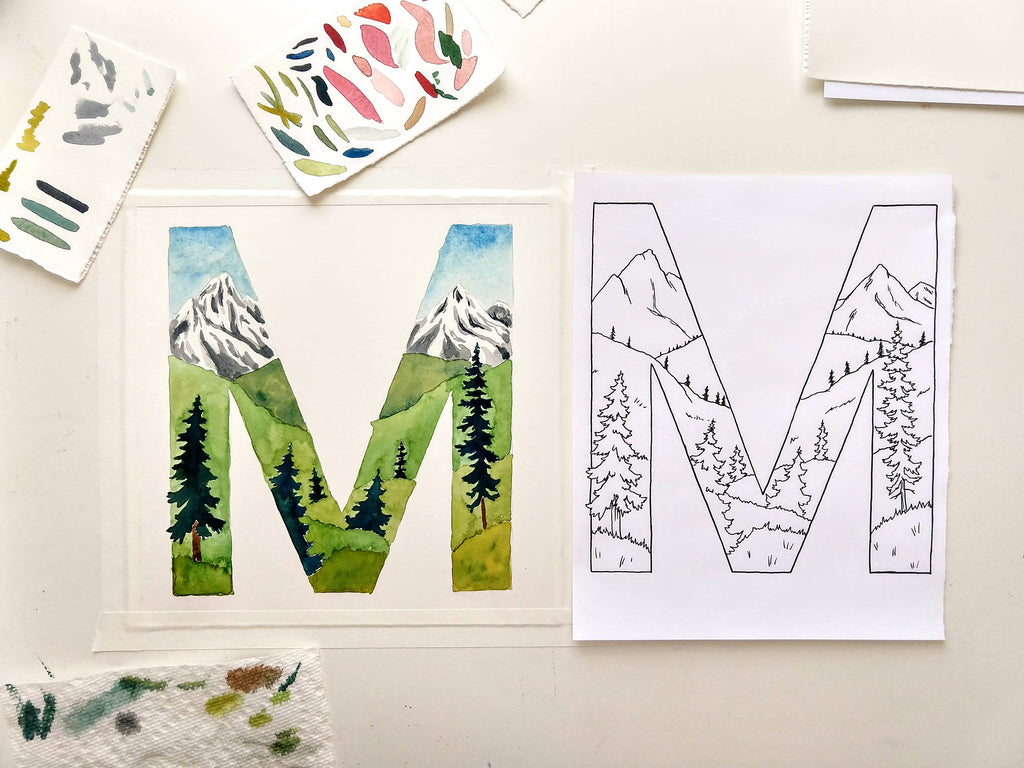 Letter M watercolor