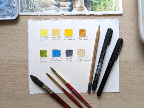 Watercolor paint color palette