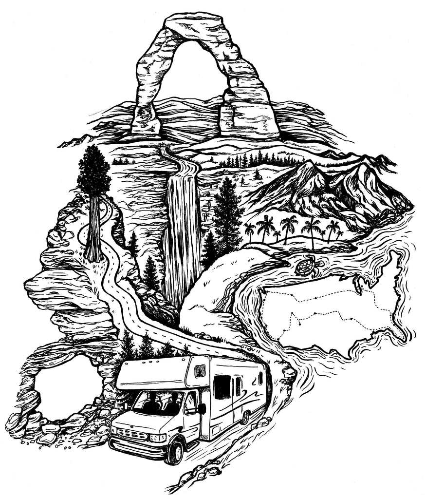 Travel RV tattoo design USA map