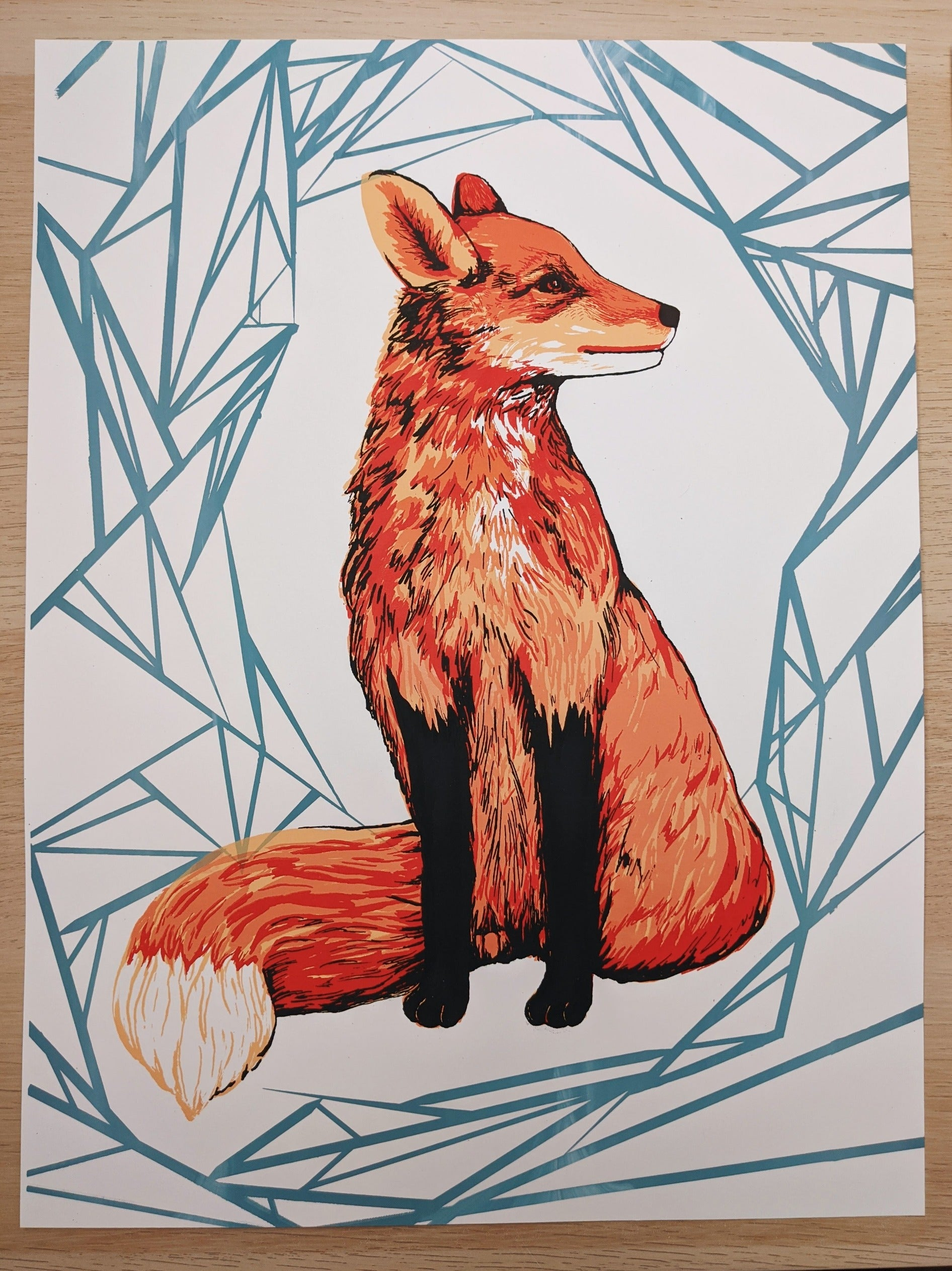 Fox - Handmade Limited Edition Screenprint - Kim Everhard Art