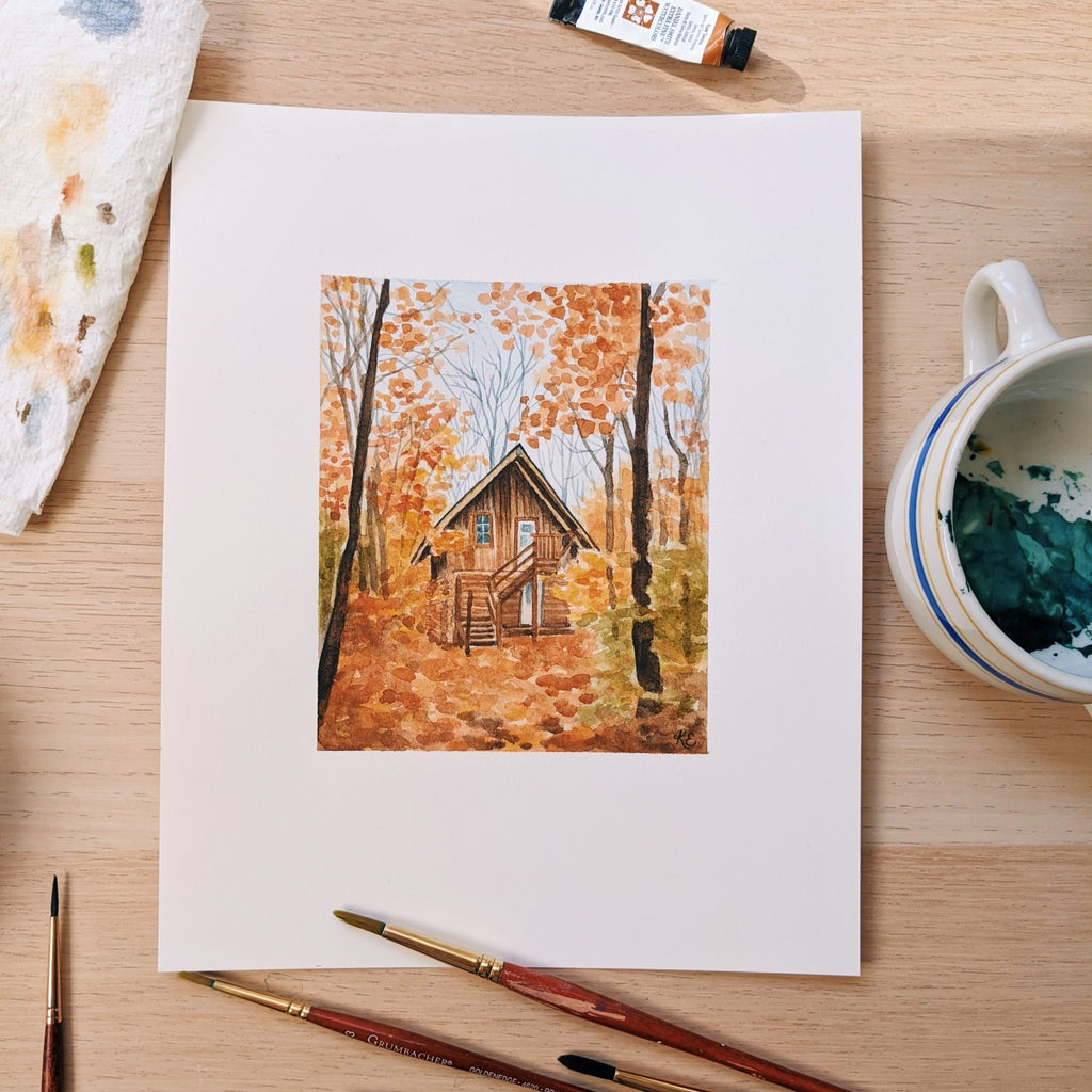 Cozy Woodland Cabin - Original Painting - 8x10 - Kim Everhard Art