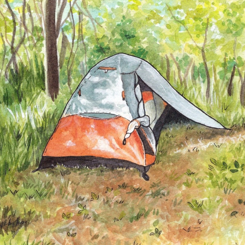 Backpacking Tent - Original Painting - Everhard Designs Nature Art