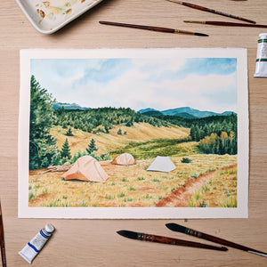 Campsite With A View - Original Watercolor Painting - Everhard Designs Nature Art