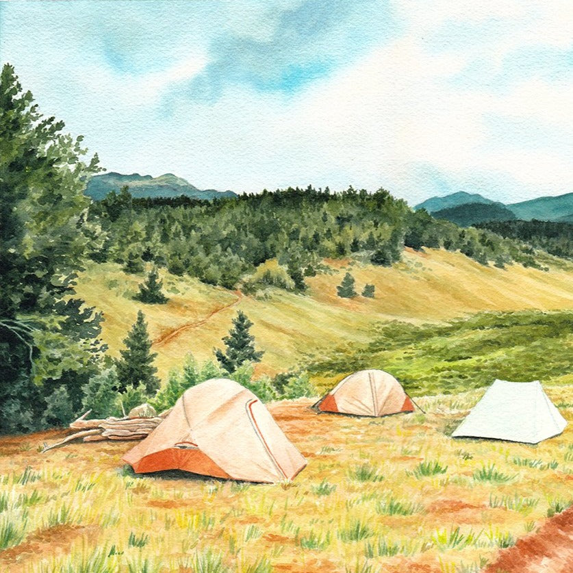 "Campsite With A View - Original Painting - 12x16"" - Everhard Designs Nature Art"
