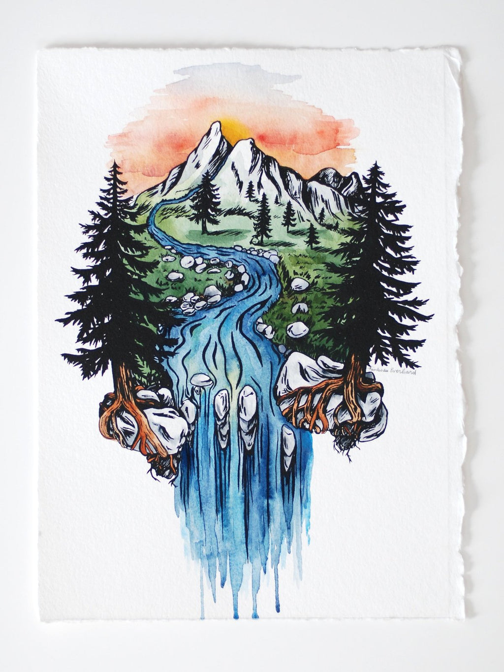 Cascade Meadow Sunset- screenprint and watercolor - Everhard Designs Nature Art