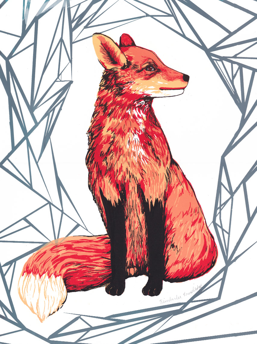 Fox - handmade screenprint