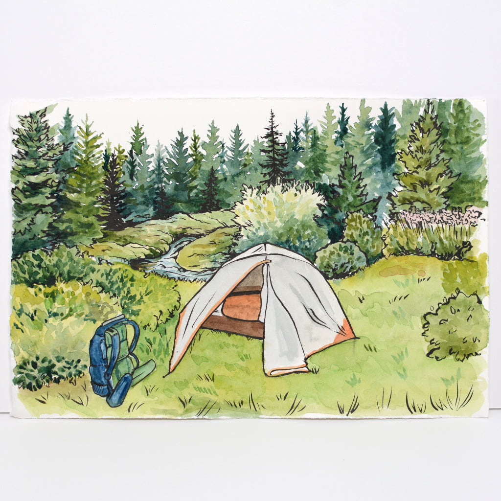 Campsite in Dolly Sods - Original Painting - Everhard Designs Nature Art