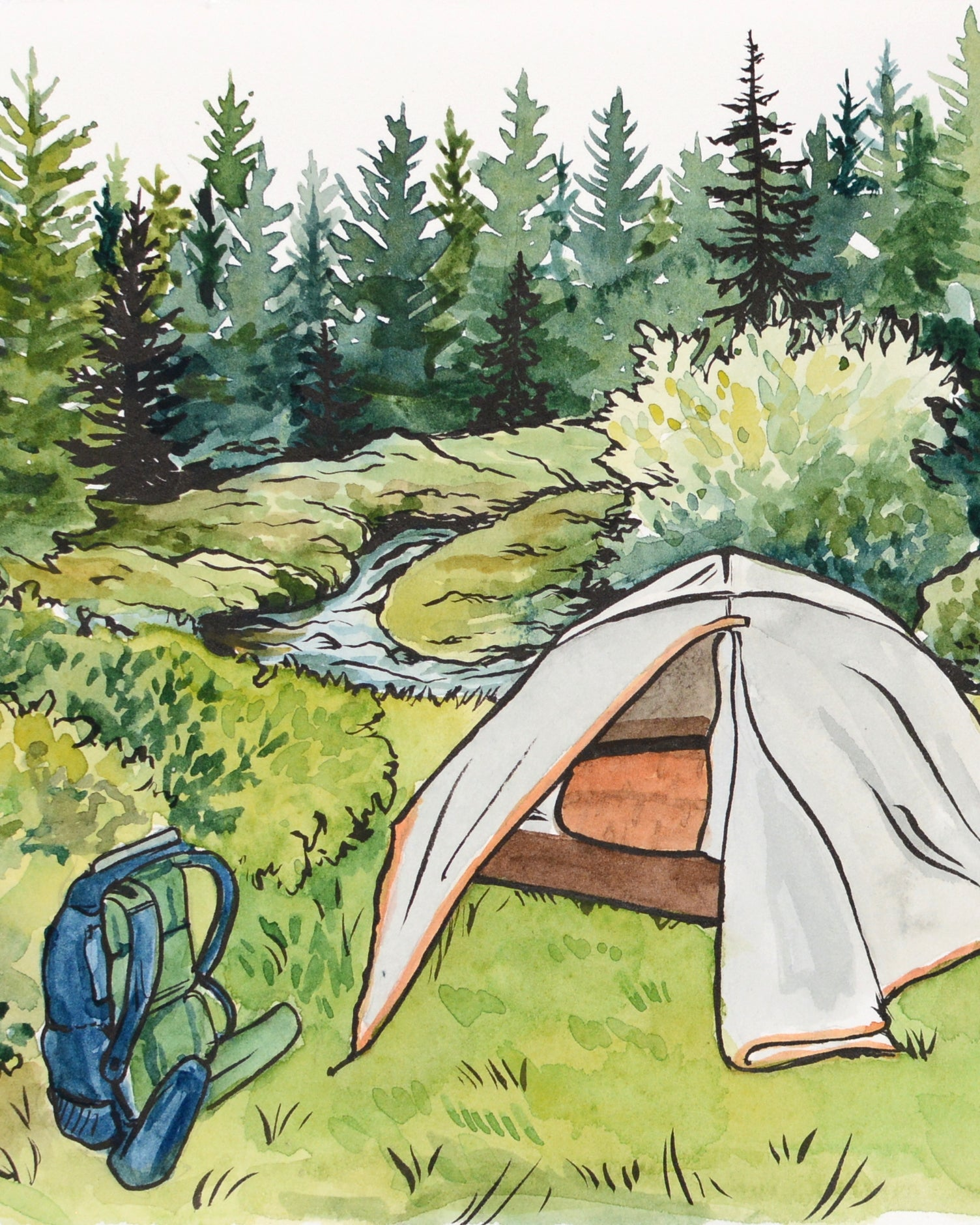 "Campsite in Dolly Sods - Original Painting - 10.5x7"" - Kim Everhard Art"